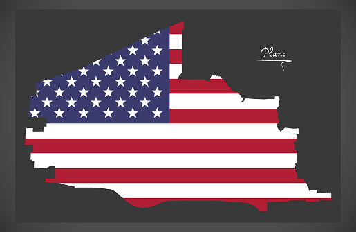 Plano Texas map with American national flag illustration