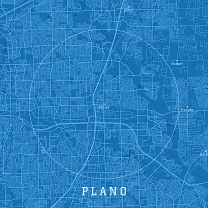Plano TX City Vector Road Map Blue Text