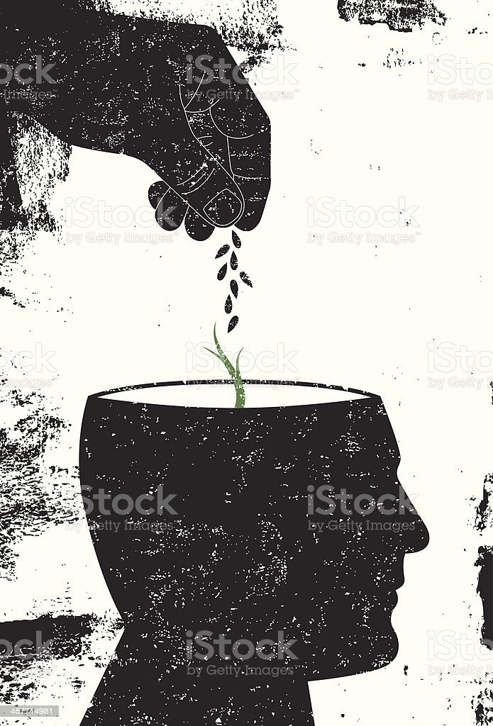 Plant a seed in the mind vector art illustration
