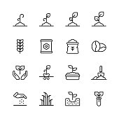 16 Plant and Seed Outline Icons. Plant, Seed, Leaf, Tree, Ecology, Environment, Agriculture, Planting, Growing, Watering, Recycling, Human Hand Holding Seeds, Fertilizer, Irrigation, Soil, Coffee, Flower, Gardening, Flowerpot, Houseplant, Landscape, Organic.