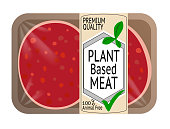 Plant based Meat with Hamburger Patty in Packaging with label