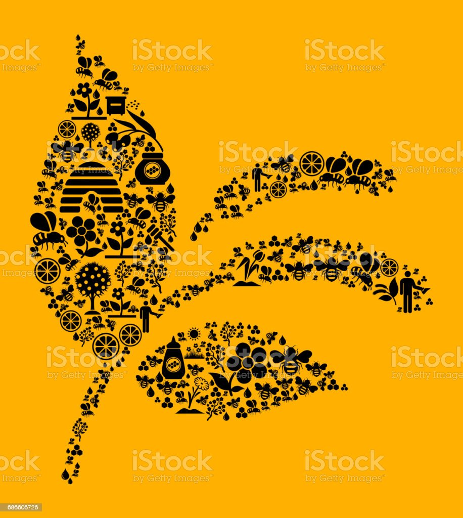 Plant  Bee and Honey Vector Icon Background royalty-free plant bee and honey vector icon background stock vector art & more images of agriculture