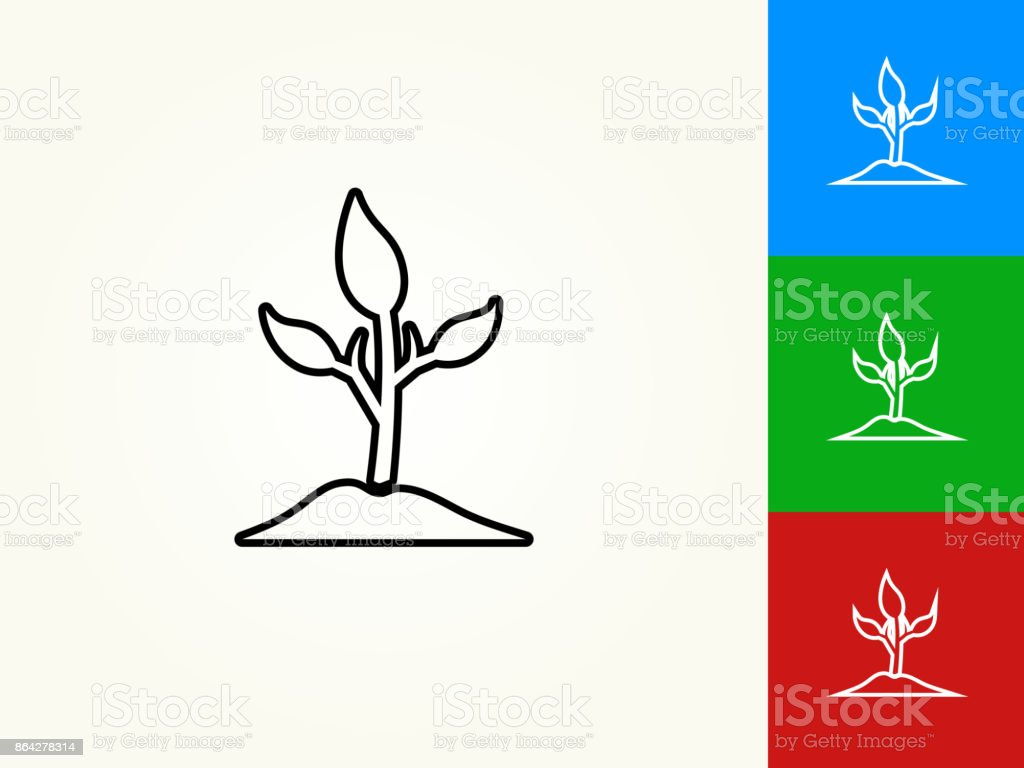 Plant Black Stroke Linear Icon royalty-free plant black stroke linear icon stock vector art & more images of black color