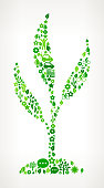 Plant On Green Environmental Conservation and Nature royalty free vector interface icon pattern. This royalty free vector art features nature and environment icon set pattern. The major color is green and icons include trees, leaves, energy, light bulb, preservation, solar power and sun. Icon download includes vector art and jpg file.