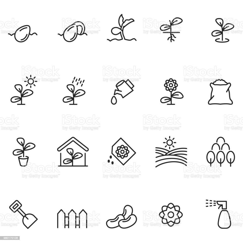 Plant growing icon set vector art illustration