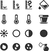 Plant Growing Sign Silhouette Icons. See also: