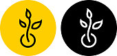 Plant Growth Icon. This 100% royalty free vector illustration is featuring a round button in yellow with the main icon depicted in black. There is an alternative black and white version on the right.