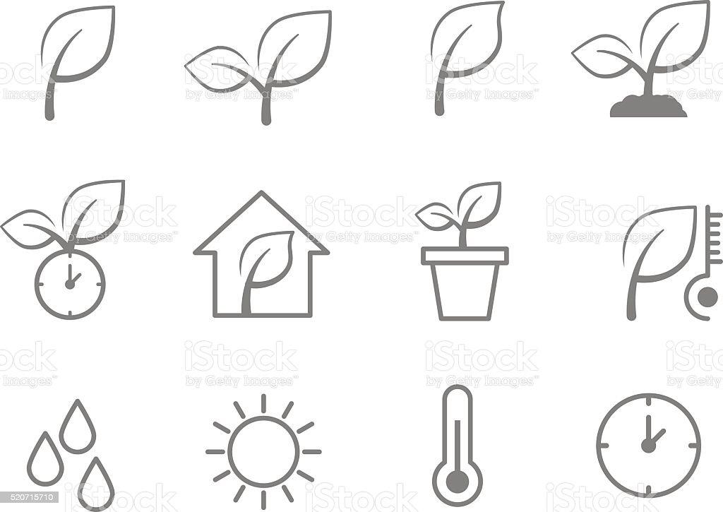 pflanzen symbole pflanze kontur symbole stock vektor art und mehr bilder von abschied 520715710. Black Bedroom Furniture Sets. Home Design Ideas