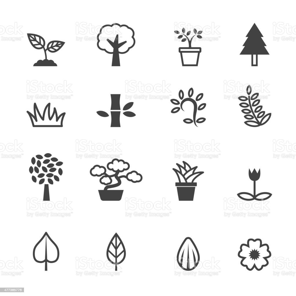 plant icons vector art illustration