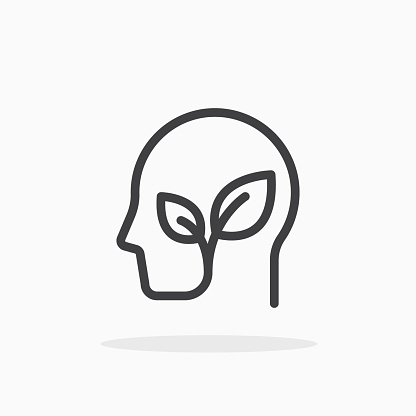 Plant in head icon in line style. For your design, logo. Vector illustration. Editable Stroke.