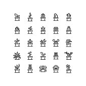 Set of plant in clay pot outline vector icons.