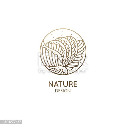 istock Plant logo of tropical leafs in circle. Leaf vegetable linear emblem for design of business, healthy and raw food, salad greens, holistic medicine, spa, natural cosmetics, massage. Vector icon 1324277487