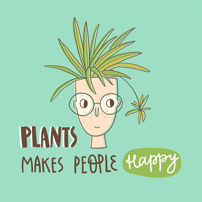 Plant lover card with hand lettering. Plants makes people happy.