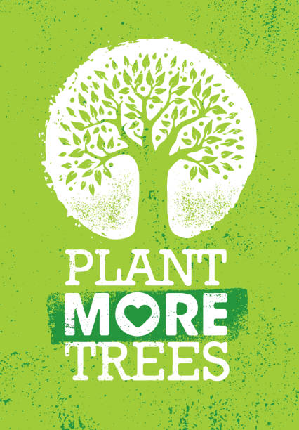 Plant More Trees. Eco Motivational Poster On Rough Organic Background. Inspiring Creative Motivation Quote Poster Template. Vector Typography Banner Design Concept On Grunge Texture Rough Background earth day stock illustrations