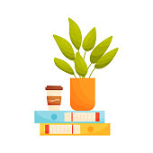 Plant pot and coffee cup on file folders. Education concept. Home office concept. Vector illustration.