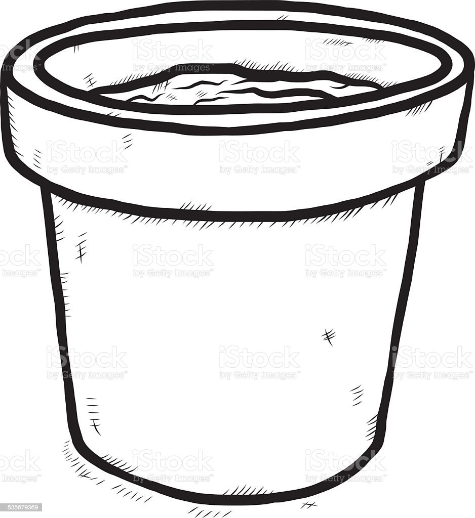 Soil Clipart Black And White Plant Pot With Soil St...