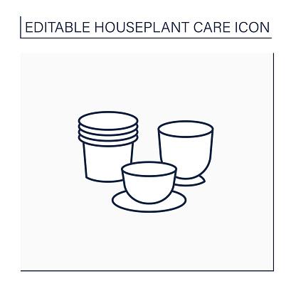 Plant pots line icon