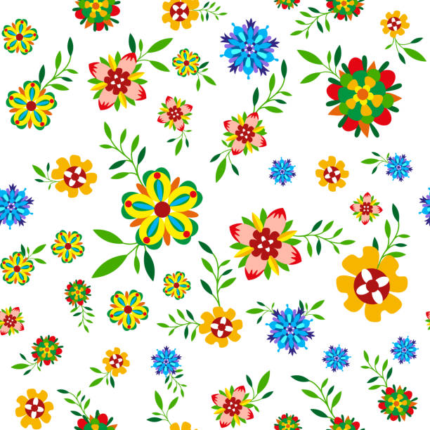 Plant seamless pattern with flowers and leaves vector art illustration