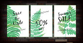 istock Plant set with tropical leaves 1339458598