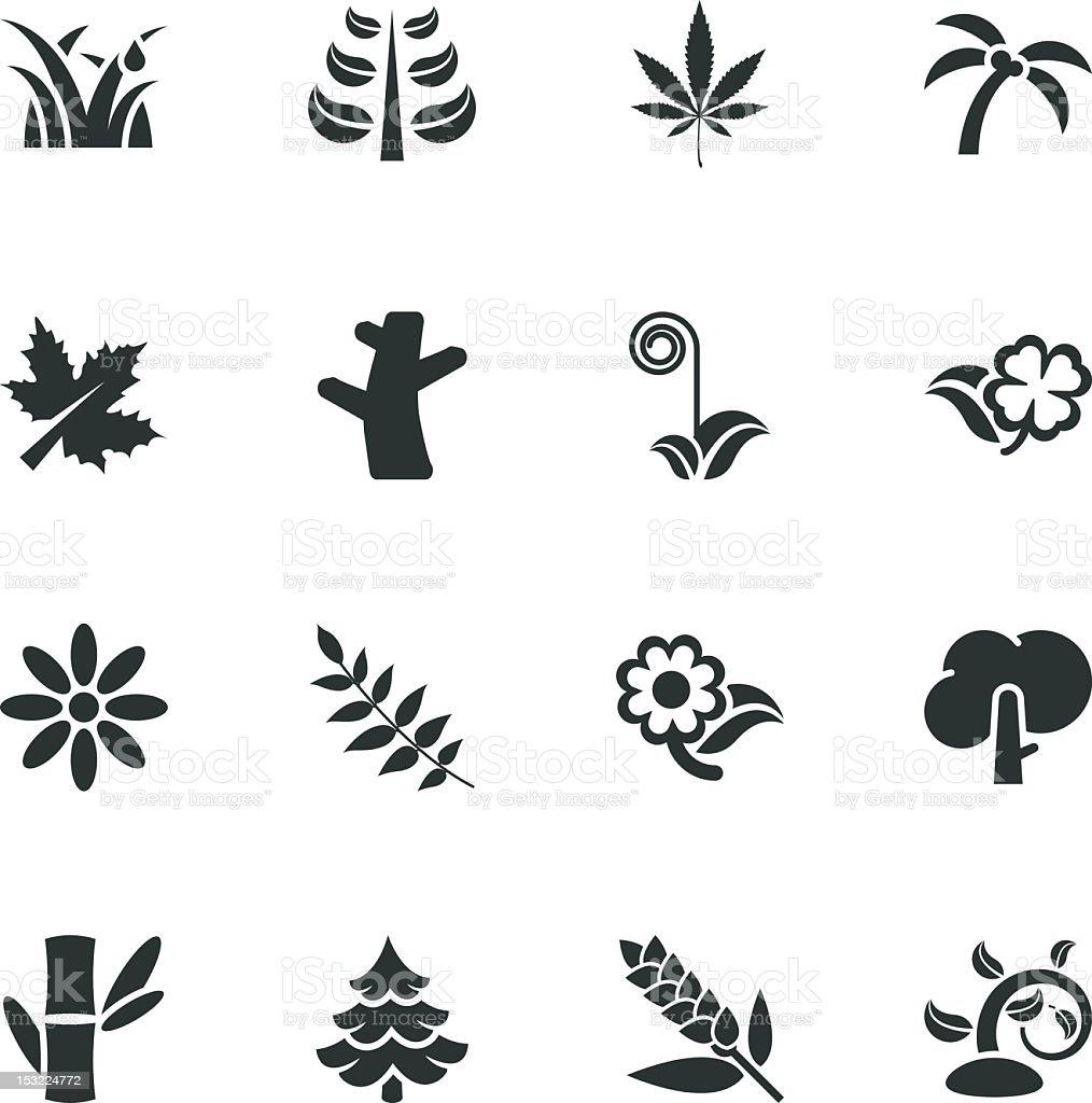 Plant Silhouette Icons vector art illustration