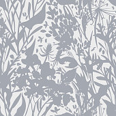 Plant silhouettes. Blooming garden flowers, herbs, leafs and field plants in flat vintage style. Plain floral ornament. High summer decoration.