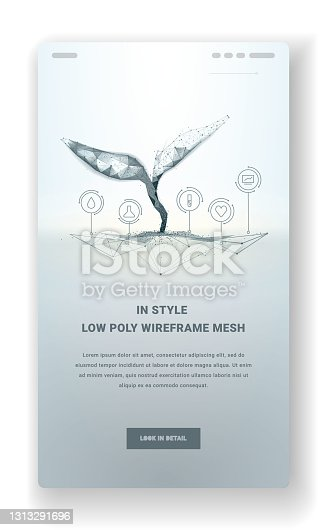 istock Plant sprout biotechnology. Seedling tree leaves concept for webpage or mobile app or postcard. Abstract illustration isolated on light background. Low poly wireframe. Particles are connected lines 1313291696