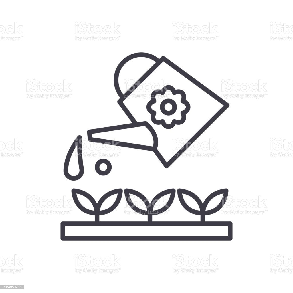 Plant watering black icon concept. Plant watering flat  vector symbol, sign, illustration. royalty-free plant watering black icon concept plant watering flat vector symbol sign illustration stock vector art & more images of car