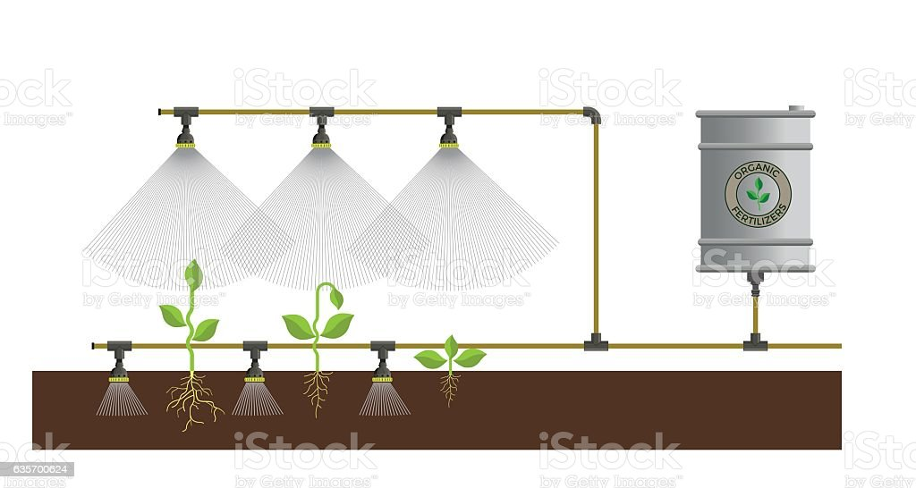 Plant watering system royalty-free plant watering system stock vector art & more images of agriculture