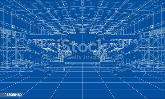 A plant with industrial robots manipulators. Blueprint style. Vector rendering from 3D model