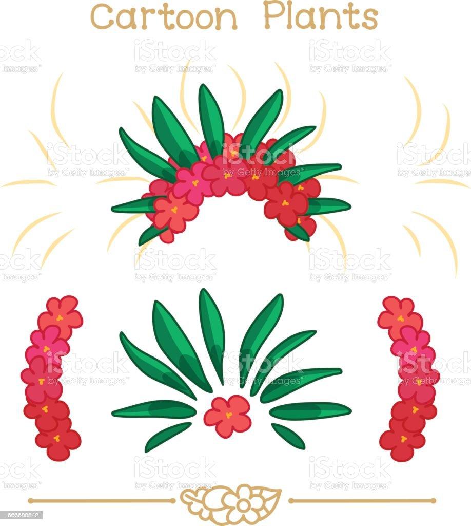 Plantae Series Cartoon Plants Red Flowers Crown Set Stock Vector Art