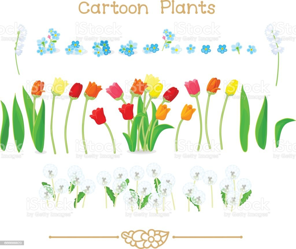 Plantae Series Cartoon Plants Spring Tulips Flowers Set Stock Vector