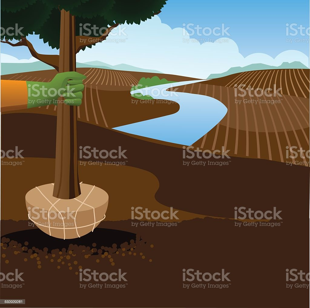 Planting a tree Arbor Day background vector art illustration