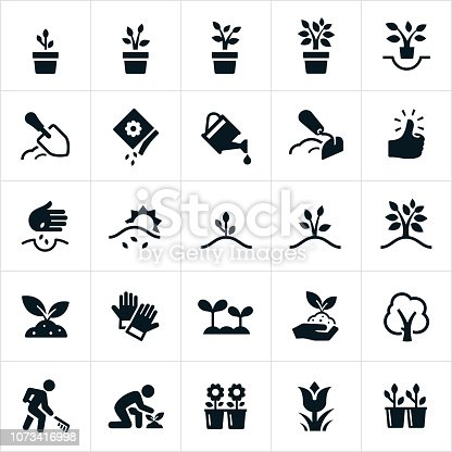 A set of icons representing planting, growing and cultivating of plants and trees. The icons include seeds, planting, plants, plants growing, trees growing, cultivation, watering, flowers, soil preparation and seedlings among others.