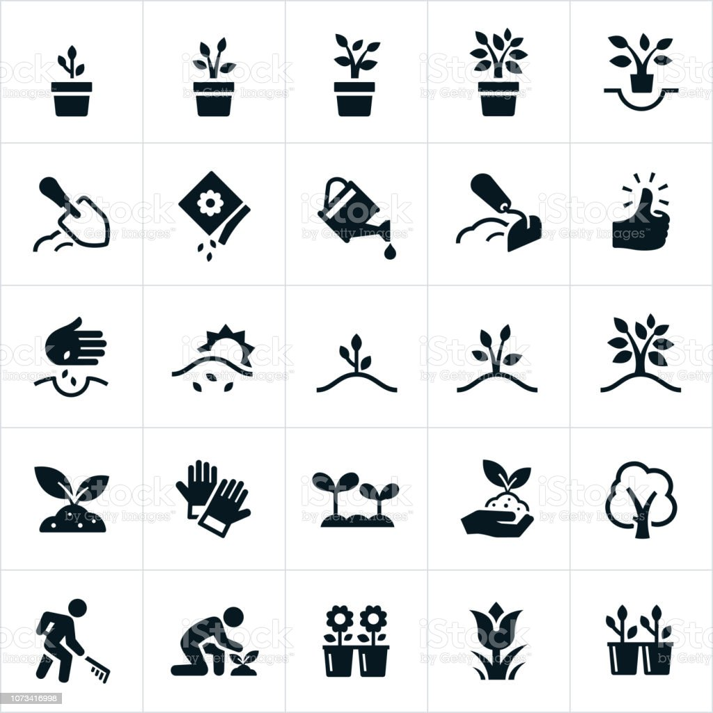 Planting and Growing Icons vector art illustration
