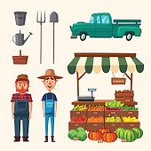 Planting and harvesting. Cartoon vector illustration. Vegetables and fruits market. Farmer, car and equipment