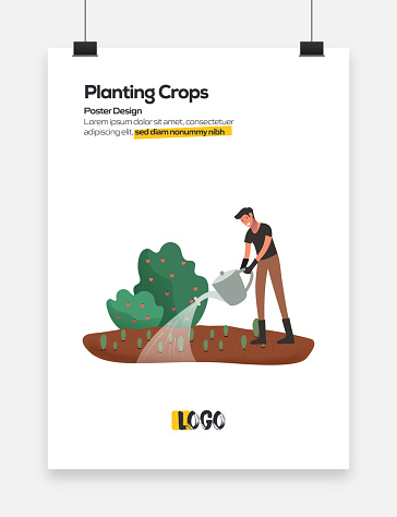 Planting Crops Concept Flat Design for Posters, Covers and Banners. Modern Flat Design Vector Illustration.