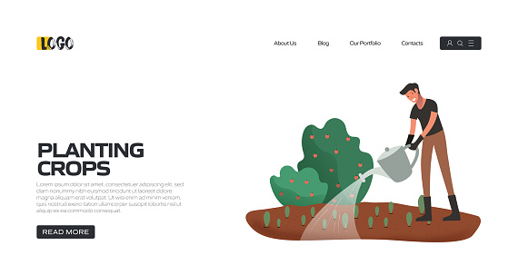 Planting Crops Concept Vector Illustration for Landing Page Template, Website Banner, Advertisement and Marketing Material, Online Advertising, Business Presentation etc.
