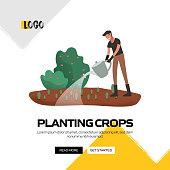 Planting Crops Concept Vector Illustration for Website Banner, Advertisement and Marketing Material, Online Advertising, Social Media Marketing etc.