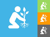 Planting Tree   Flat Icon on Blue Background. The icon is depicted on Blue Background. There are three more background color variations included in this file. The icon is rendered in white color and the background is blue.
