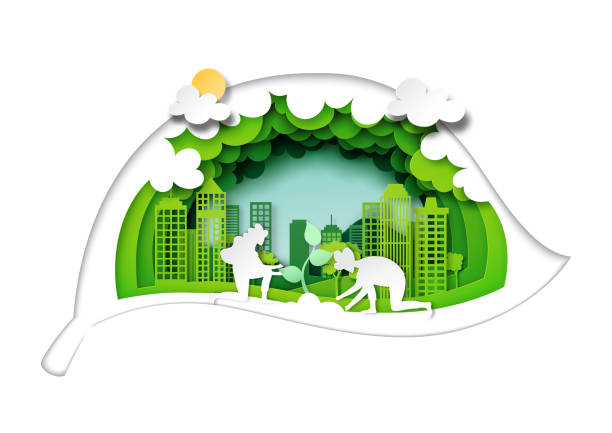 Planting tree in eco city with green leaf background layers paper art style. vector art illustration