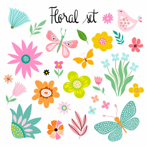 Plants and flowers collection Floral collection with different elements, isolated on white springtime stock illustrations