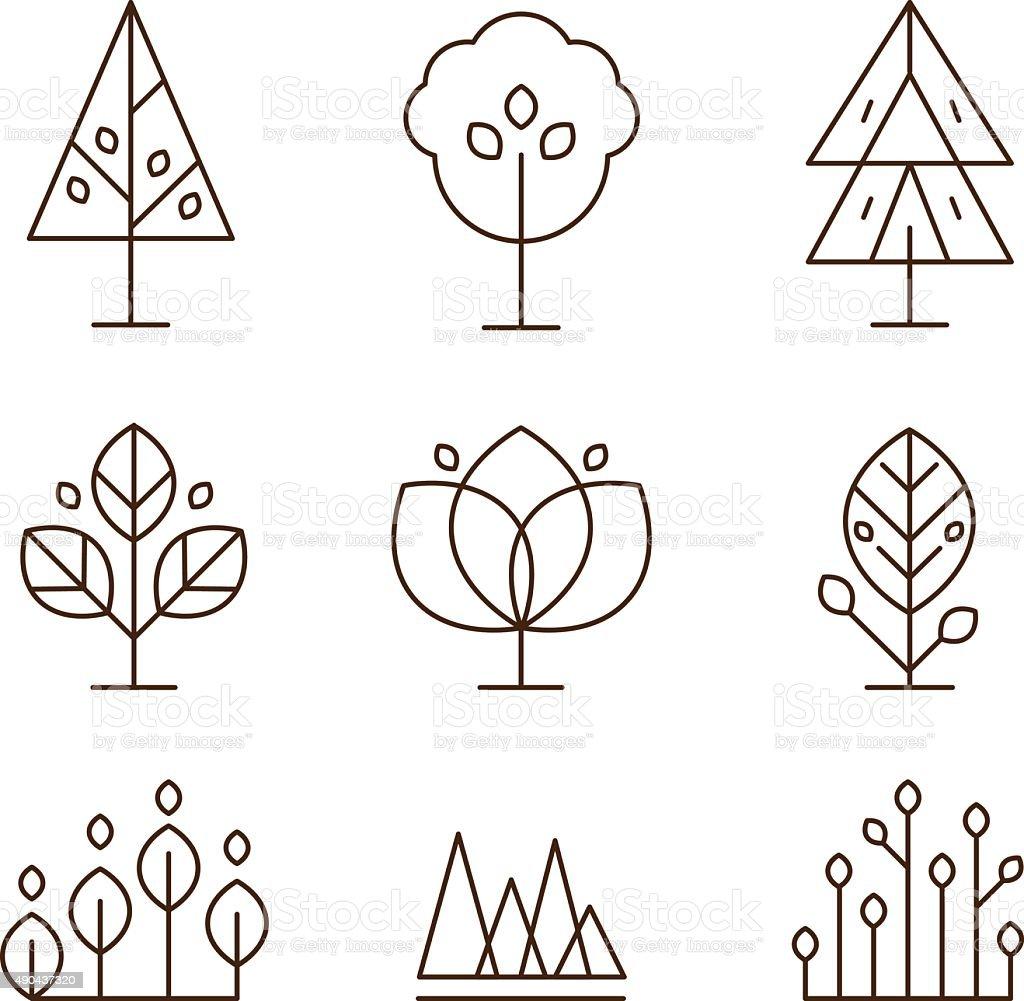 Piante e alberi icone Set stile lineare - illustrazione arte vettoriale