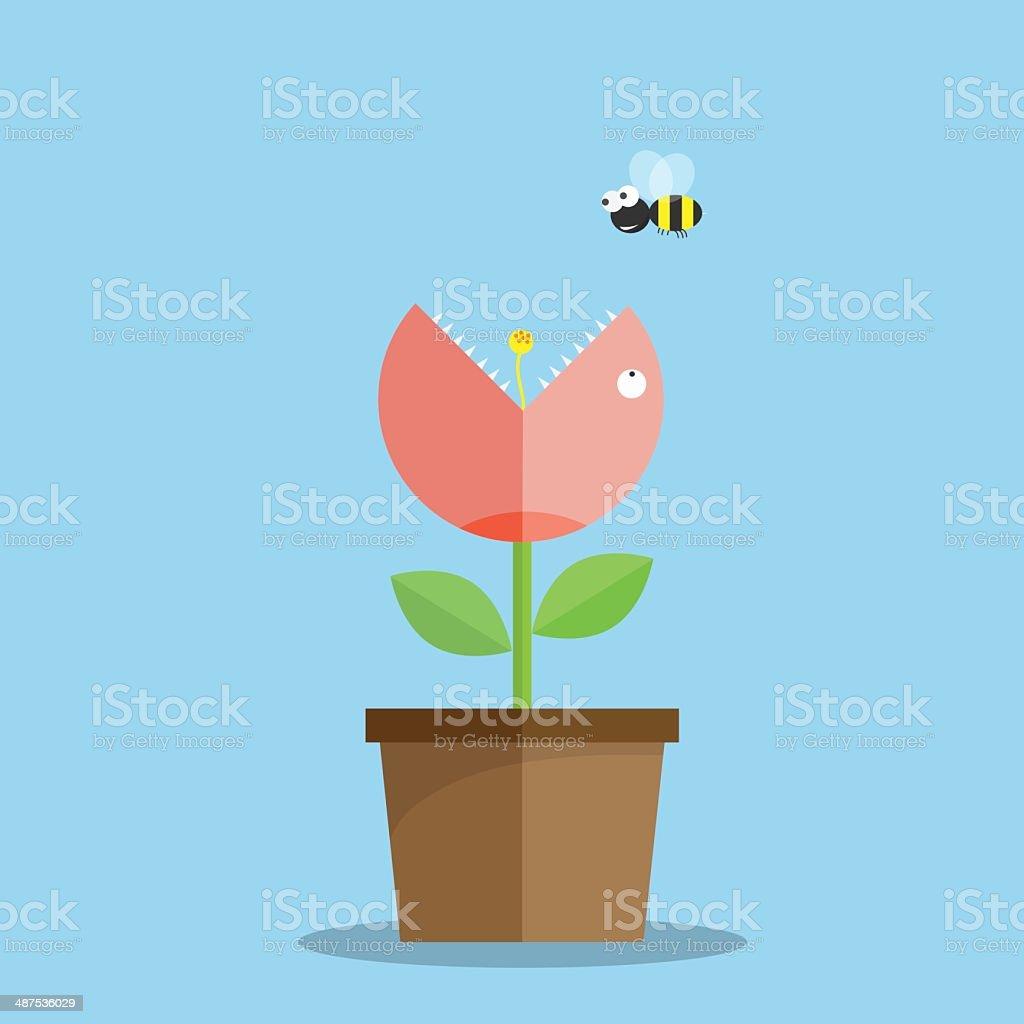 植物は食べる人 Bees概念ベクトルイラスト アイデアのベクターアート