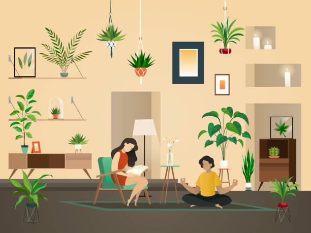 illustrations, cliparts, dessins animés et icônes de plantes à la maison intérieure. jardin urbain vert plantation et gens illustration vectorielle intérieur chambre. - sol caractéristiques d'une construction