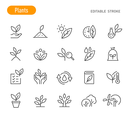Plants Icons - Line Series - Editable Stroke