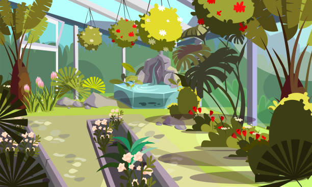 Plants in empty greenhouse flat illustration Plants in empty greenhouse flat illustration. Home garden, orangery interior design. Cartoon exotic decorative flowers, tropical palms in hothouse drawing. Trees and bushes cultivation technology garden center stock illustrations