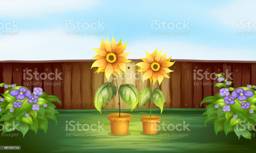 Plants inside a fence royalty-free stock vector art