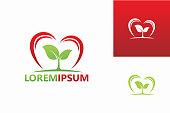 Plants Love Logo Template Design Vector, Emblem, Design Concept, Creative Symbol, Icon