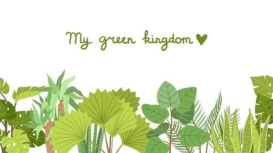 Plants pattern. Green garden plant, home planting. Tropical tree, bushes border design. Palm vector seamless print