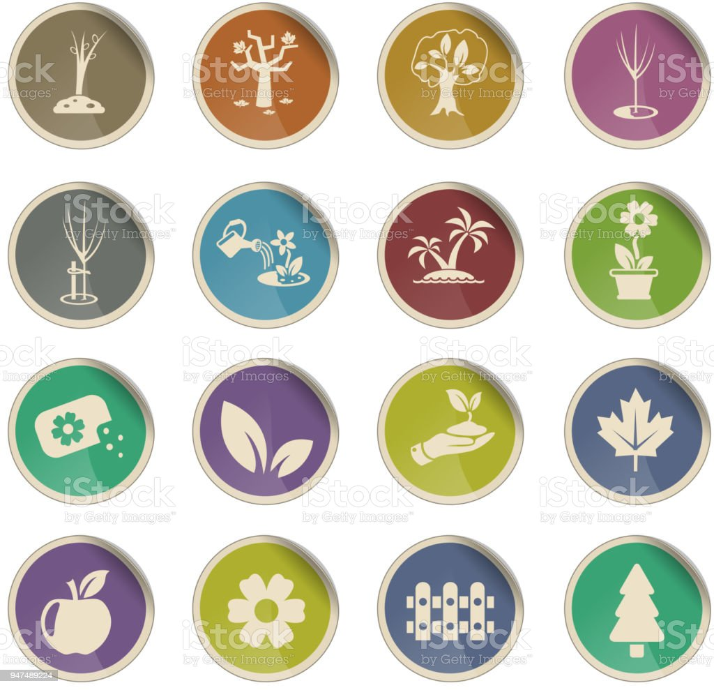 plants tools icon set vector art illustration